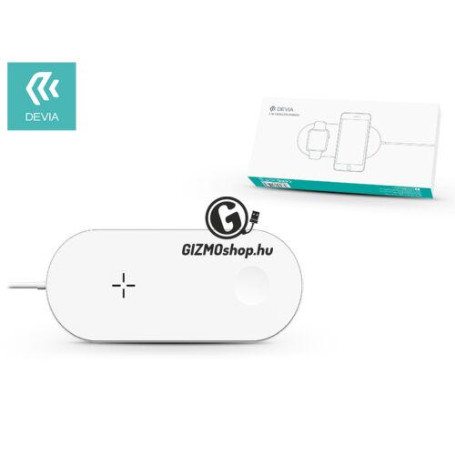 Devia Qi univerzális vezeték nélküli töltő állomás – 5V/1A – Devia 2in1 Wireless Charger for Smartphone and Apple Watch – white