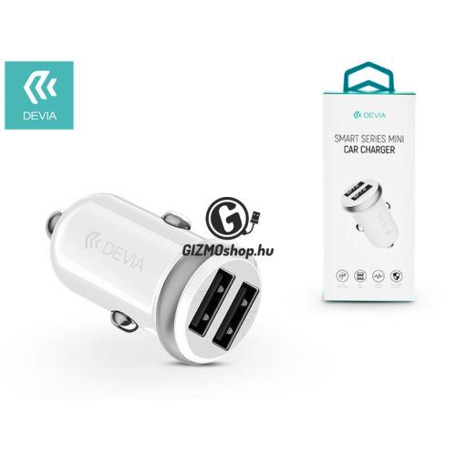 Devia Dual USB szivargyújtós töltő adapter – 5V/1A/2,4A – Devia Smart Series Mini Car Charger – white