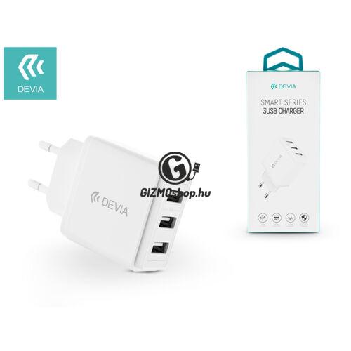 Devia univerzális USB hálózati töltő adapter 3 x USB – 5V/3,4A – Devia Smart Series 3 USB Charger – white