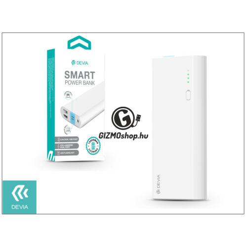 Univerzális hordozható, asztali akkumulátor töltő – Devia Smart Lightning 2.4A Power Bank – 10.000 mAh – white