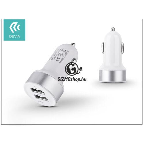 Devia Smart Dual USB szivargyújtós töltő adapter – 5V/2,4A – white/silver