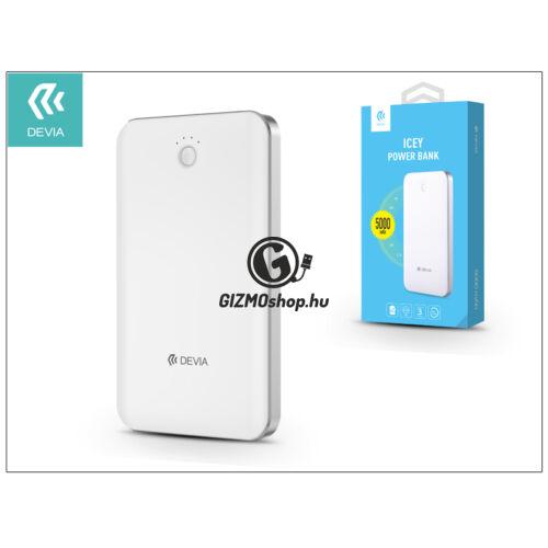 Univerzális hordozható, asztali akkumulátor töltő – Devia Icey 2.1A Power Bank – 5000 mAh – white