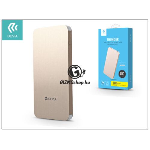 Univerzális hordozható, asztali akkumulátor töltő – Devia Thunder 2xUSB 2.1A Power Bank – 10.000 mAh – gold