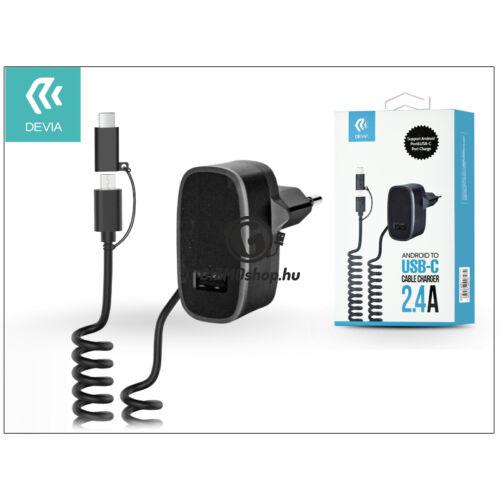 Devia hálózati töltő adapter micro USB + Type-C csatlakozóval – 5V/2,4A – Devia Cable Charger – black