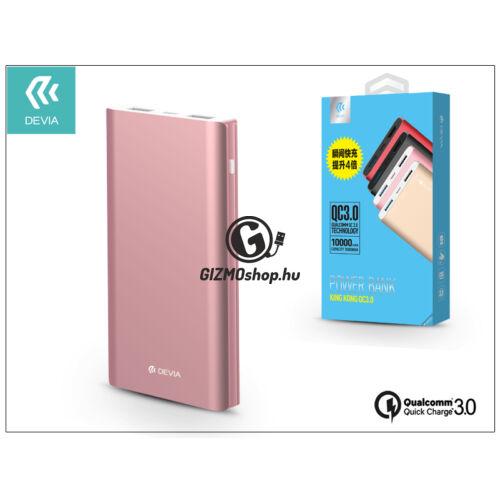 Univerzális hordozható, asztali akkumulátor töltő – Devia King Kong 2xUSB QC 3.0 Power Bank – 10.000 mAh – rose gold