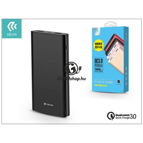 Univerzális hordozható, asztali akkumulátor töltő – Devia King Kong 2xUSB QC 3.0 Power Bank – 10.000 mAh – black