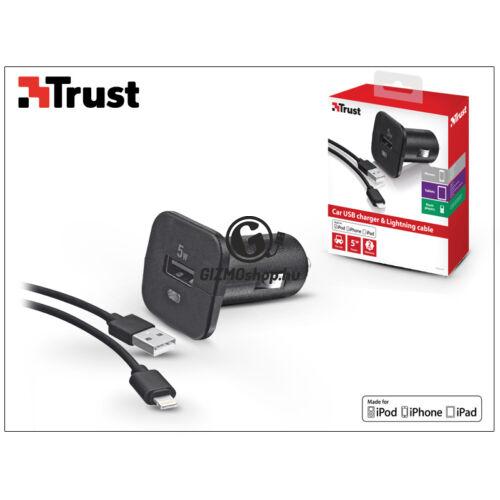 Apple iPhone 5/5S/5C/SE/6S/6S Plus Lightning szivargyújtó töltő adapter 1 m-es kábellel (Apple MFI engedélyes) – Trust – 5V/1A – fekete
