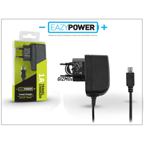 Micro USB hálózati gyorstöltő 140 cm-es kábellel – Eazy Power – 5V/1A