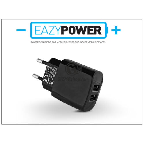 Univerzális 2xUSB hálózati töltő adapter – Eazy Power – 5V/2,1A – fekete – (ECO csomagolás)