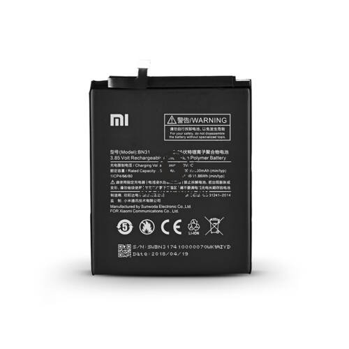 Xiaomi Redmi Note 5A gyári akkumulátor – Li-polymer 3080 mAh – BN31 (ECO csomagolás)